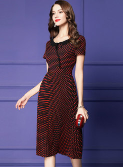 Heart Pattern Gathered Waist Slim Pleated Dress