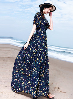 Vintage Floral V-neck Slim Maxi Dress