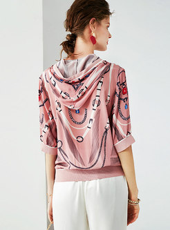 Stylish Print Hooded Half Sleeve Loose Top