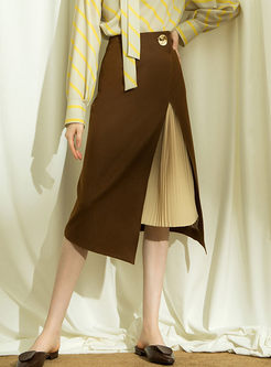 Trendy High Waist Irregular Slit Splicing Skirt