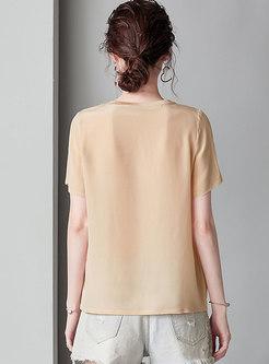 Casual Print Splicing O-neck T-shirt