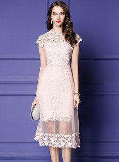 Mesh Splicing Perspective High Waist Lace Dress