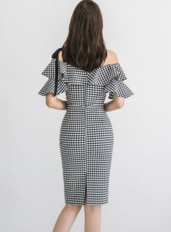 Off Shoulder Plaid Falbala Sheath Dress