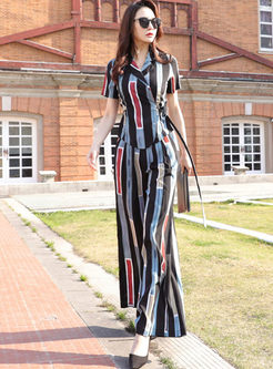 Striped Wide Lapel Belted Pant Suits