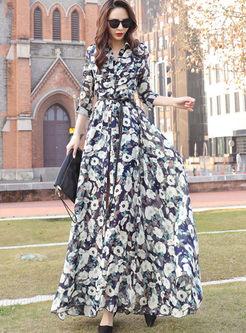 Retro Lapel Three Quarters Sleeve Print Maxi Dress