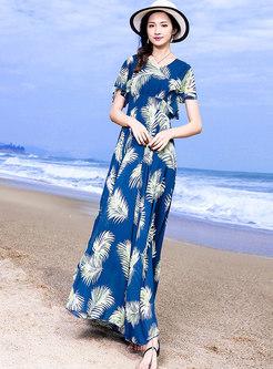 Bohemia Print V-neck High Waist Beach Dress