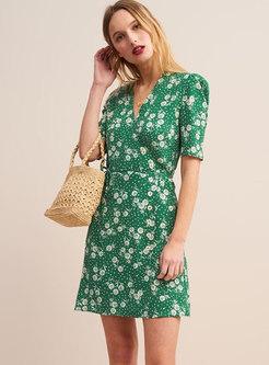 Retro V-neck Short Sleeve Print Slim Dress