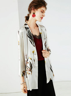 Stylish Lapel Print Silk Print Tied Thin Coat