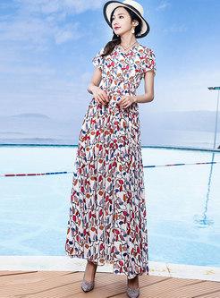 Bohemia Print V-neck Elastic Waist Hem Maxi Dress
