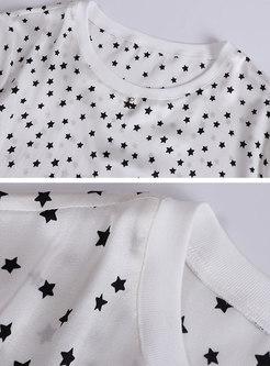 Stars Pattern O-neck Casual T-shirt