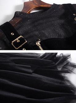 Chic Perspective Top & Asymmetric Mesh Velvet Splicing Dress