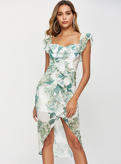 Print Off Shoulder Holiday Bodycon Dress