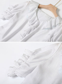Striped V-neck Falbala Pullover Top