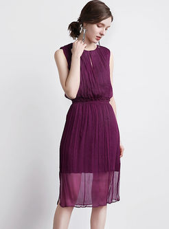 Summer Pure Color O-neck Sleeveless Silk Dress