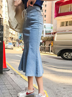 Denim Tie-waist Sheath Mermaid Skirt