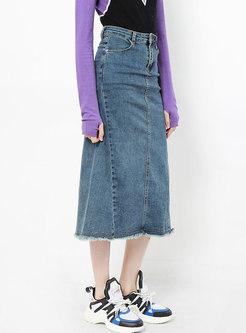 Stylish High Waist Rough Selvage Slit Skirt