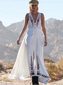 Bohemian V-neck Sleeveless Embroidered Big Hem Dress