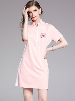 Piglet Beaded Zipper Stand Collar Cute Pink T-shirt Dress