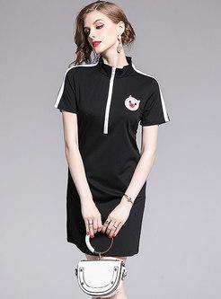 Stylish Piglet Beaded Stand Collar Black Slim T-shirt Dress