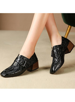 Square Toe Solid Color Genuine Leather Buckle Shoes
