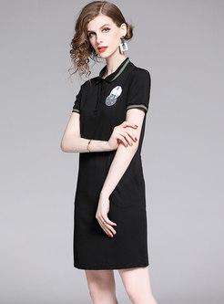Brief Turn-down Collar Diamond-studded Black T-shirt Dress