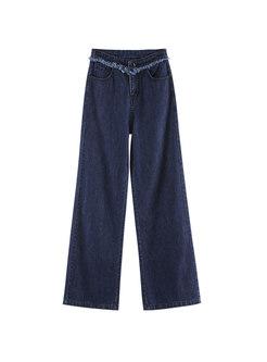 Denim High Waist Rough Selvedge Wide Leg Pants
