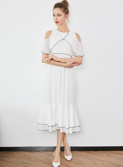 Elegant O-neck Off Shoulder Falbala Mermaid Dress