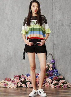 Chic Black Slim Tassel All-matched Shorts