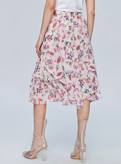 Fashion Floral Print Summer Chiffon Cake Skirt
