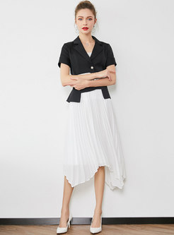 Notched Short Sleeve A Line Suit Dress
