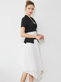 Elegant Black Gathered Waist Coat & Asymmetric Pleated Skirt