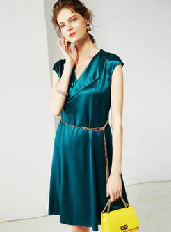 Chic Lapel Pure Color Sleeveless Gathered Waist Skater Dress