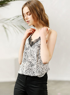 Summer V-neck Lace Up Leopard Silk Cami