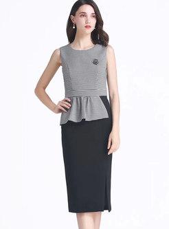 Plaid Splicing Sleeveless Slit Sheath Dress