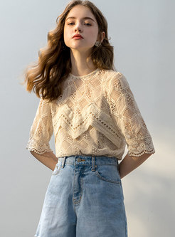 Lace O-neck Three Quarters Sleeve Top With Cami