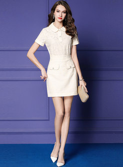 Elegant Lace Lapel Slim Top & Mini Skirt