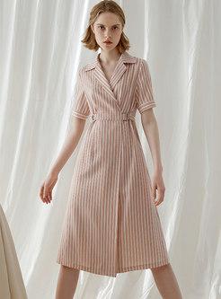 Striped Turn Down Collar Gathered Waist Midi Dress
