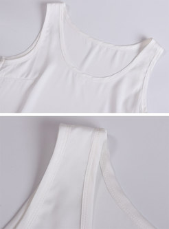 Brief Solid Color O-neck Sleeveless Tanks