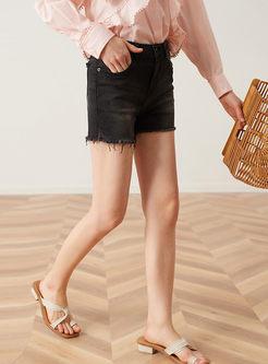 High Waist Rough Selvage Straight Denim Shorts