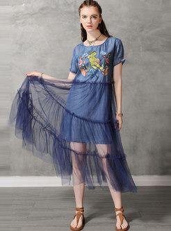 Mesh Splicing Embroidered O-neck Denim Maxi Dress