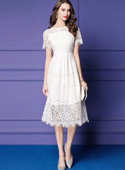 Chic Lace Hollow Out Slim A Line Dress