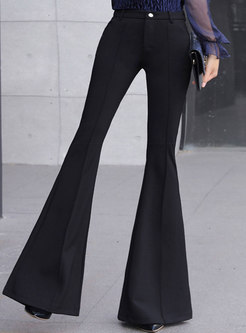 Trendy Pure Color High Waisted Flare Pants