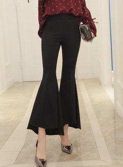 Chic Black Irregular Slim Comfortable Flare Pants