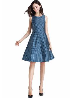 Brief Print O-neck Sleeveless Hem Skater Dress