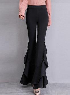 Solid Color High Waist Slim Flare Pants