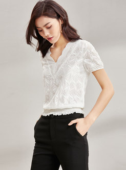 Casual V-neck Solid Color Waist Blouse