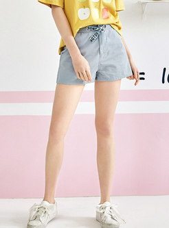 Casual High Waist Tied All-matched Denim Shorts