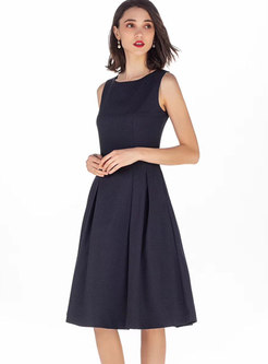 Elegant O-neck Sleeveless Hem Skater Dress