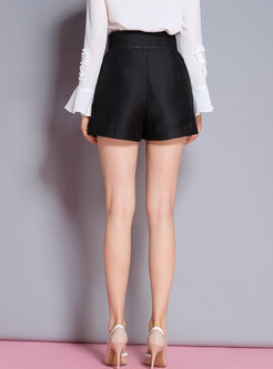 Black Chic High Waist All-matched Shorts