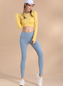 Pure Color Long Sleeve Dry Fast Crop Top